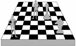 記者会見バックパネル チェス盤